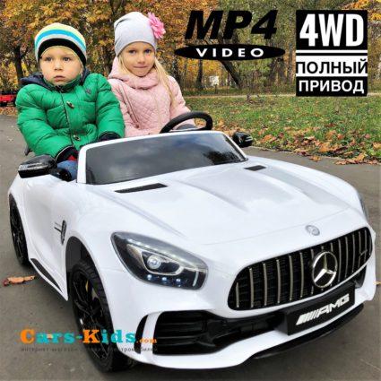 Электромобиль Mercedes-Benz GT R MP4 - HL289-4WD белый (сенсорный дисплей MP4, 2х местный, колеса резина, кресло кожа, пульт, музыка, кондиционер)