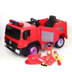 Электромобиль Пожарная машина А222АА (колеса резина, кресло кожа, пульт, музыка)