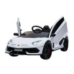 Электромобиль Lamborghini Avendator SVJ - HL328 белый (колеса резина, кресло кожа, пульт, музыка)