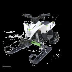 Десткий снегоход бензиновый Gekkon 1+1 Snow  (Снегоцикл) бело- зеленый (до 35 км/ч, дисковые тормоза, до 60 кг)